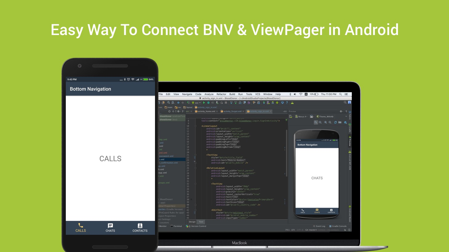 Easy Way To Connect BottomNavigationView & ViewPager in Android