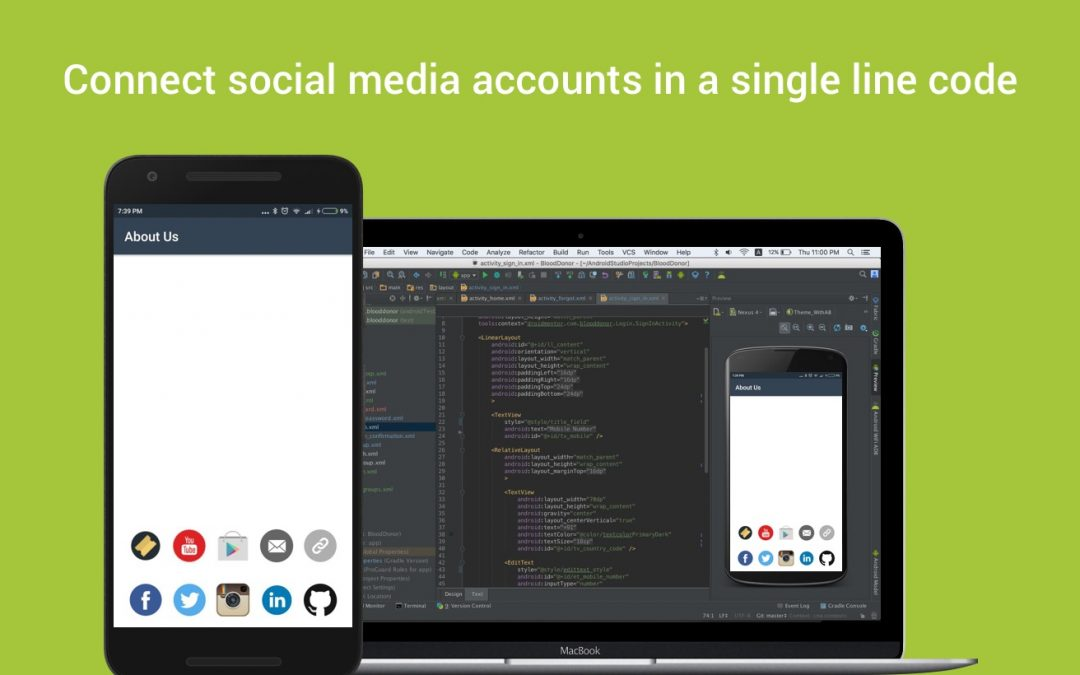 Connect social media accounts in a single line code
