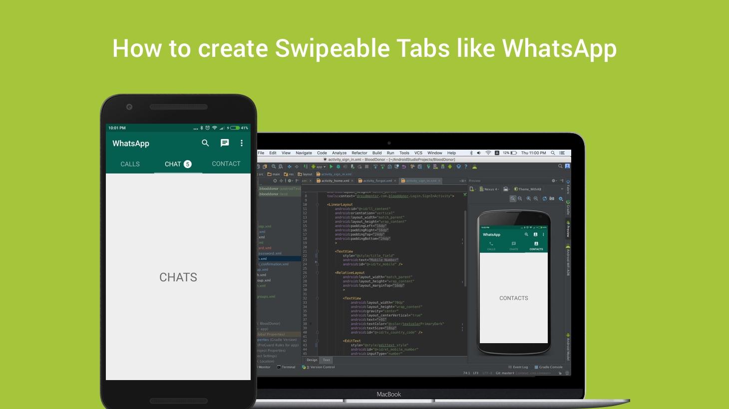 How to create Swipeable Tabs like WhatsApp