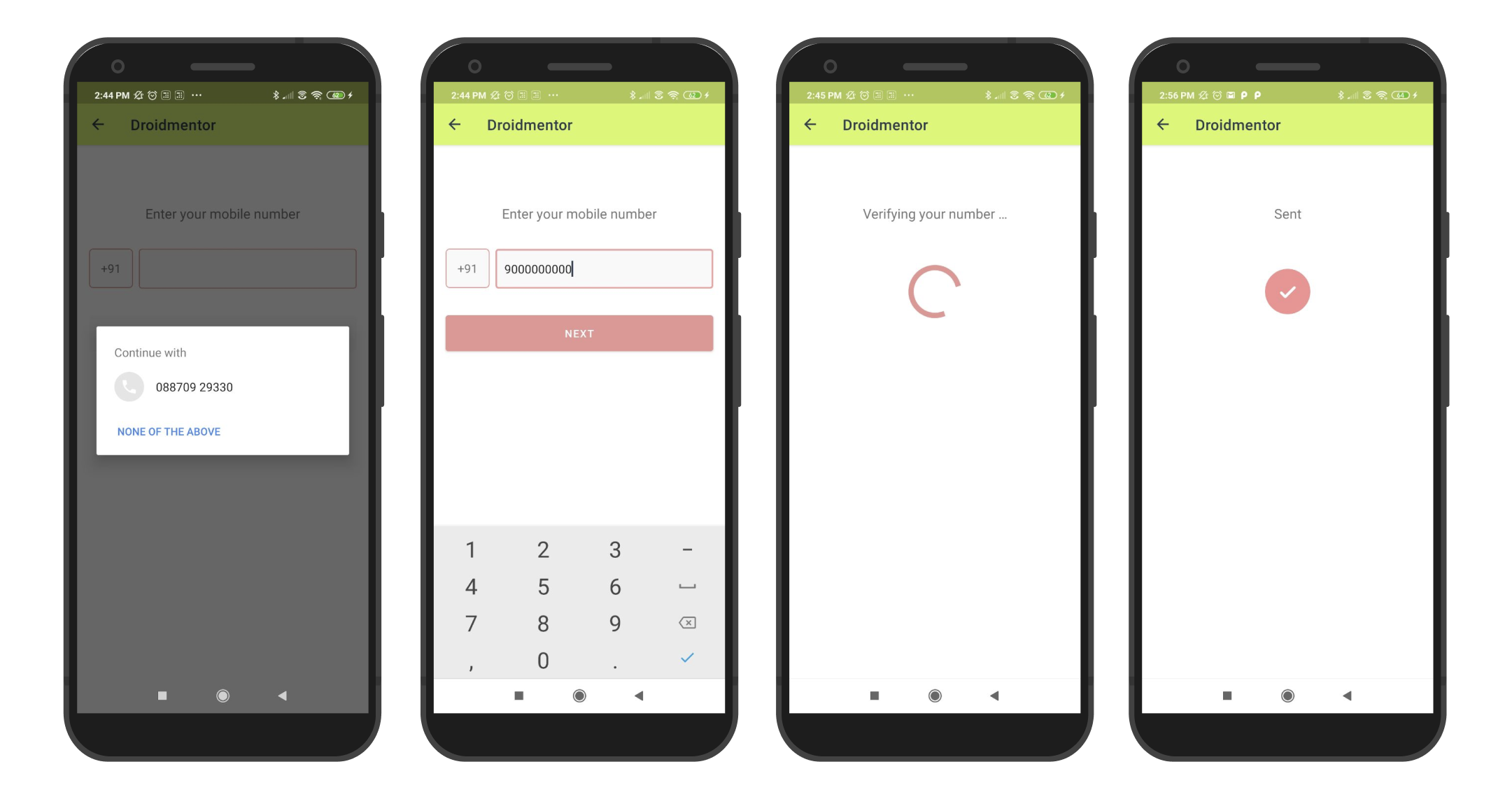 Phone number auth using Firebase Authentication SDK